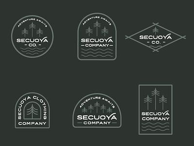 Secuoya Co. Badges secuoya linework monoline trees wander adventure hiking camping outdoor minimalist vintage hipster retro insignia patch badges logo icon badge sequoia