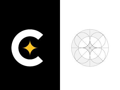 C Star lettermark modern design guide lines creative minimalist minimal guidelines guides logo golden ratio geometric night star mark letter lettermark c
