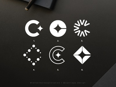 C lettermark exploration square round stars modern concept options logotype layout minimal geometric golden ratio icon mark letter lettermark