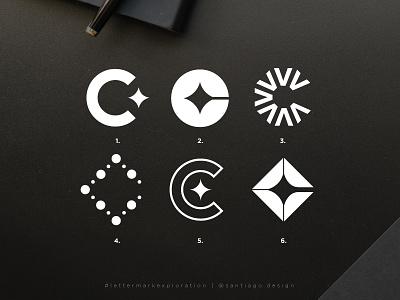 C lettermark exploration square round stars modern concept options logotype layout minimal geometric golden ratio icon mark letter lettermark