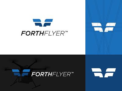 Forth Flyer Logo & Brand Identity modern icon geometric delivery forward minimalist mark monogram lettermark wings aeroplane aereal aero fly drone brand identity branding logo