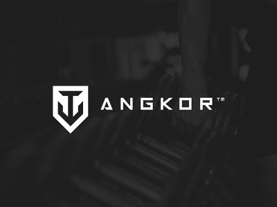 Angkor Logo & Brand Identity black and white gym logo guides grid bold strong branding hipster modern icon geometric minimal minimalist crossfit anchor fitness