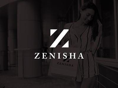 Zenisha Logo and Brand Identity exclusive high fashion luxurious expensive serif geometric brand branding logo luxury classic classy apparel minimalist elegant fashion