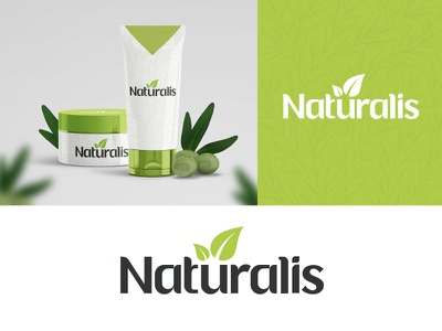 Naturalis Logo cosmetic branding nature leaves packaging green skincare beauty supplement plant organic food typography minimalist logo minimal leaf natural organic
