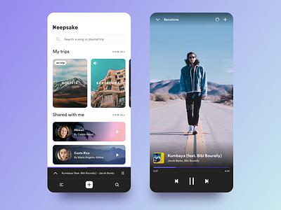 Keepsake , create playlists while traveling travel app photos playlist design ios app shazam spotiy visual design ui interaction design