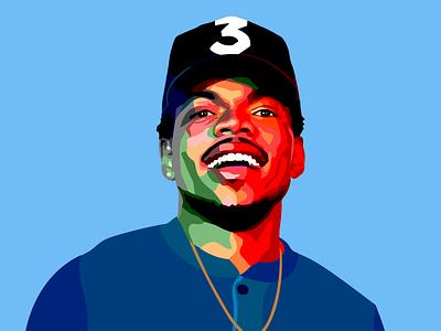 Chance The Rapper Color Pop Vector Portrait chance the rapper chance music brand vector illustration graphic design matt hodin design design matt hodin