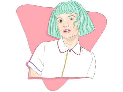 Saved by the Bell 🔔 pastel triangle ugly digital ipad retro 90s woman design color illustration