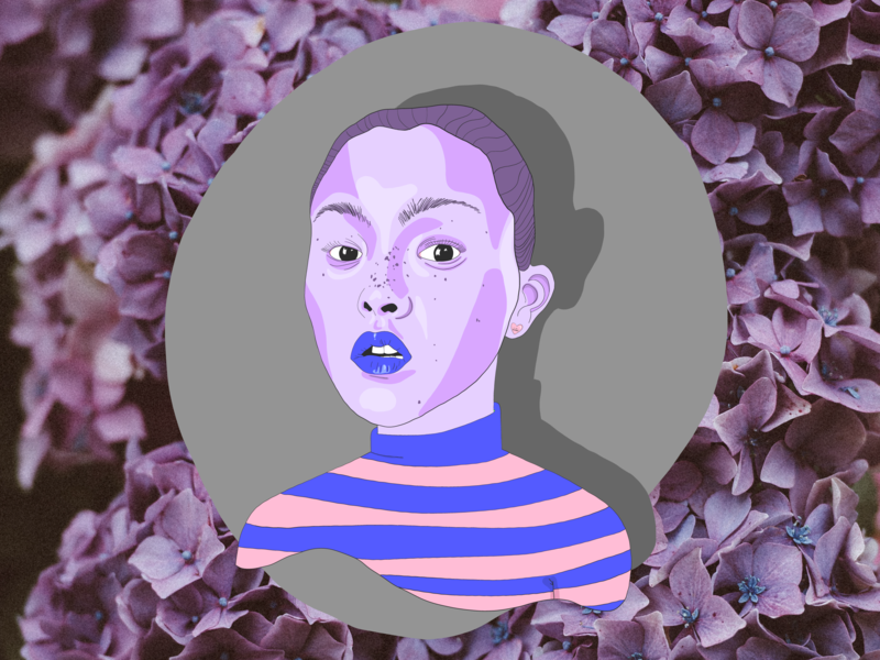 Day Glo 💜 portrait girl art woman digital color design illustration