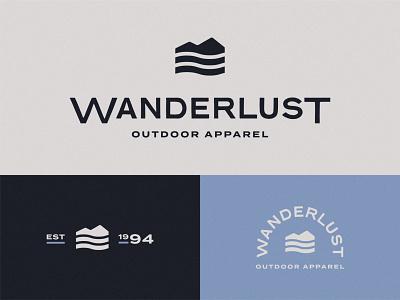 Wanderlust flat minimal branding logo design mark logo badge tag apparel river water mountain outdoors wander wanderlust