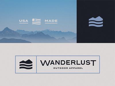 Wanderlust, II branding icon design logo lockup tag badge apparel outdoors river mountain logo design wander wanderlust