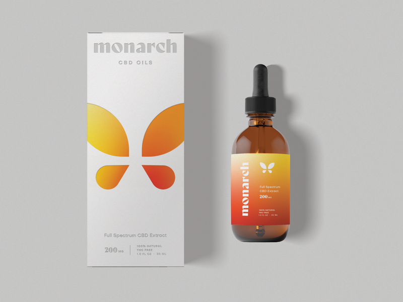 Monarch, III dropper packaging cbd oil cbd butterfly typography mark logo design branding logo