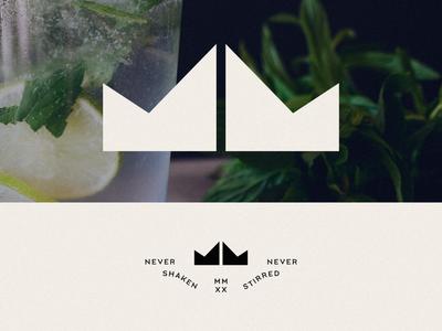 Modern Mixers, II branding typography geometric flat minimal modern logo design logo m mm crown cocktail