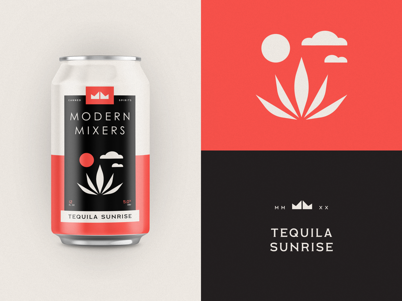 Modern Mixers | Tequila Sunrise logo design logo red crown flat typography packaging branding canned mixed drink spirits can agave tequila cocktail