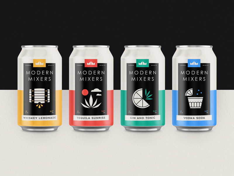 Modern Mixers | Full Lineup logo design logo packaging branding tequila gin vodka whiskey drinks canned spirits cocktail can