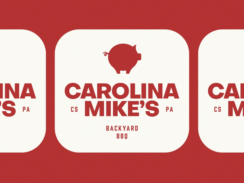 Carolina Mike's BBQ branding logo design meat southern typography minimal geometric badge mark logo red fire smoker grill carolina pig bbq