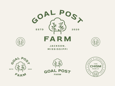 Goal Post Farm typography mark badge badges flat geometric branding logo design logo green tree farm nature leaves tree farm
