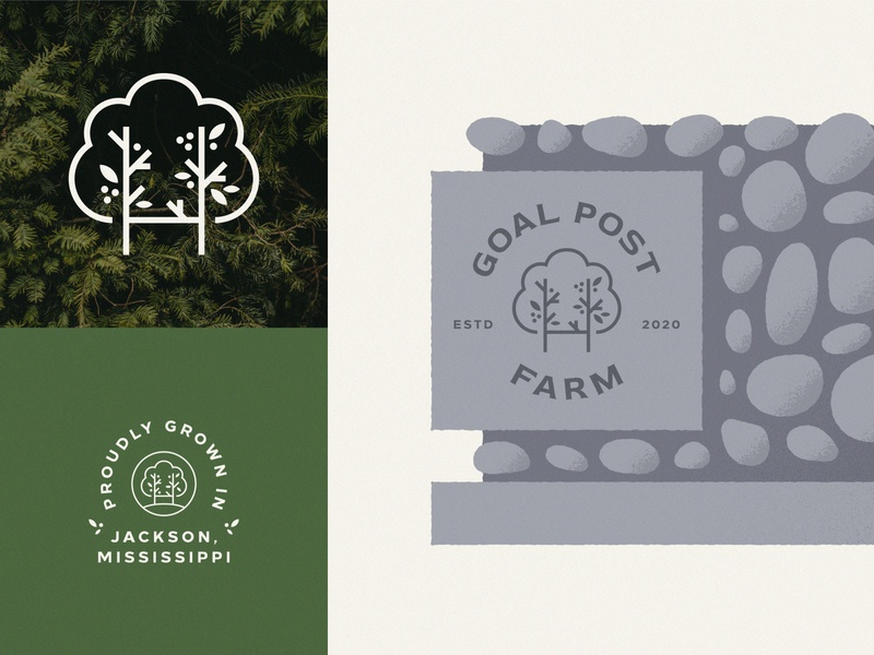 Goal Post Farm, II typography goal post goal minimal mark logo branding logo design flat geometric illustration signage stone sign stone badge nature logo green leaves tree logo tree