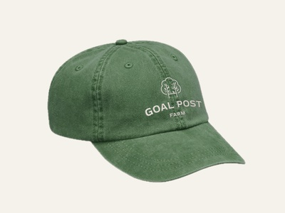 Goal Post Farm, The Dad Hat badge geometric typography logo design logo apparel design branding mockup apparel leaves green tree logo tree hat dad hat