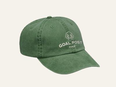 Goal Post Farm, The Dad Hat badge geometric typography logo design logo apparel design branding mockup apparel leaves green tree logo tree hat dad hat