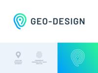 Geo Design, II minimal mark typography logo design branding geometric logo mark flat blue green gradient location pin geography geo