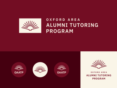Oxford Area Tutoring Program, II maroon red academic badge typogaphy logo mark branding learning school tutor education logo sunrise book