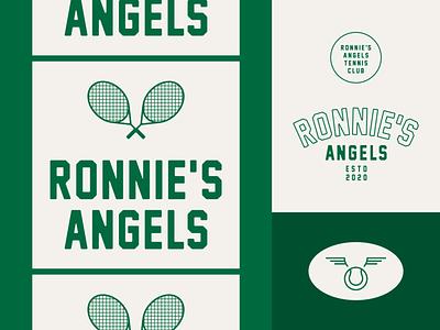 Ronnie's Angels Tennis Club athletic sports typography angels wings retro vintage green logo design branding logo tennis racket tennis ball tennis