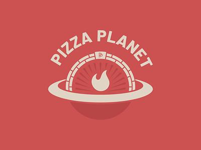 Pizza Planet - 30 Days of Logos mark typogaphy pizza logo oven pizza oven red branding logo restaurant space planet pizza