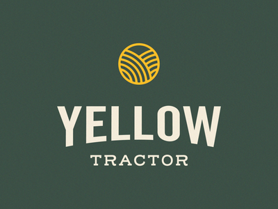 Yellow Tractor - 30 Days of Logos logo branding tractor nature green icon badge farmland farm rolling fields yellow fields