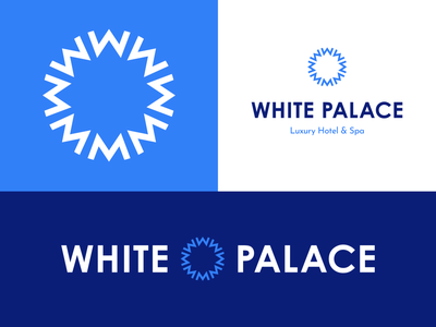 White Palace Hotel & Spa - 30 Days of Logos flat minimal branding logo mark circle geometric logo radial luxury resort blue snowflake hotel