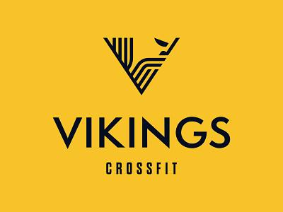 Vikings Crossfit - 30 Days of Logos geometric badge fitness club branding v fitness app viking yellow crossfit logo fitness crossfit