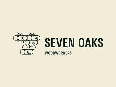 Seven Oaks Woodworking - 30 Days of Logos geometric minimal logo design logo mark branding logo logs tree nature green leaves wood oak 7 seven