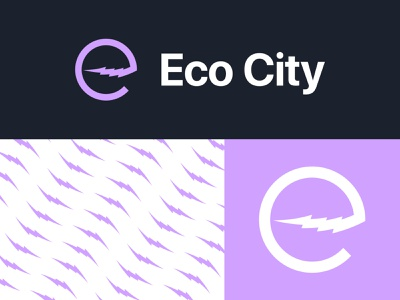 Eco City Electric Scooters - 30 Days of Logos logo design branding mark logo purple charge lightning energy electric scooter bolt eco