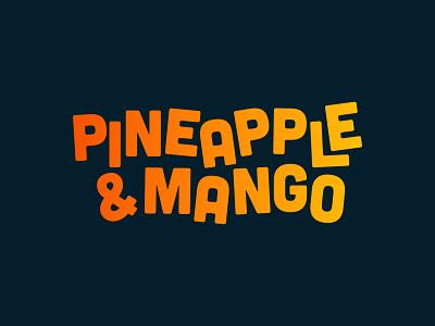 Pineapple & Mango Juice Bar - 30 Days of Logos flat logo design branding wordmark tropical gradient typography logo juice bar juice mango pineapple