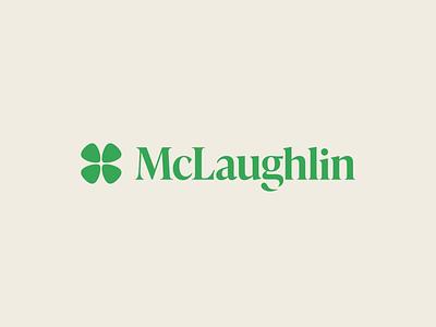 McLaughlin minimal four leaf clover branding logo wordmark lucky green irish clover typography shamrock