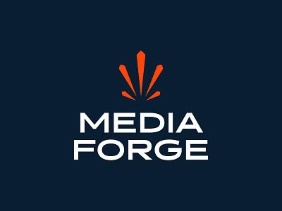 Media Forge minimal mark flat geometric typography logo mark brand idea creativity orange burst spark branding logo