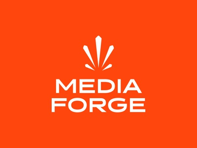 Media Forge minimal mark flat geometric typography logo mark brand idea creativity orange burst spark branding logo