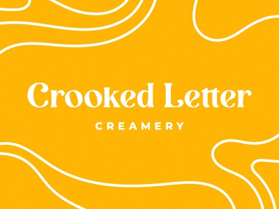 Crooked Letter Creamery serif wordmark typography logo design sweets ice cream cone creamery ice cream branding logo