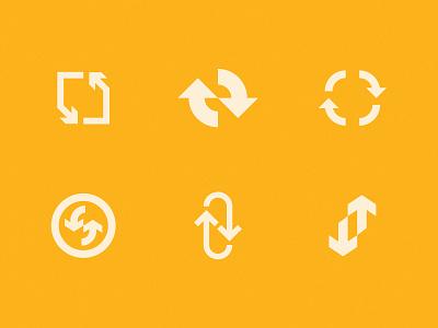 Round & Round down up minimal flat mark radial circle logo arrows