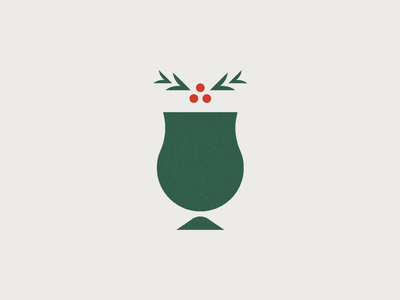 Holiday Brews mark mistletoe holly christmas logo glass beer holiday