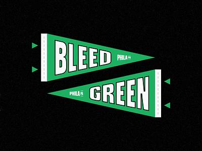 Bleed Green Pennant football typogaphy logo green philly philadelphia eagles pennant
