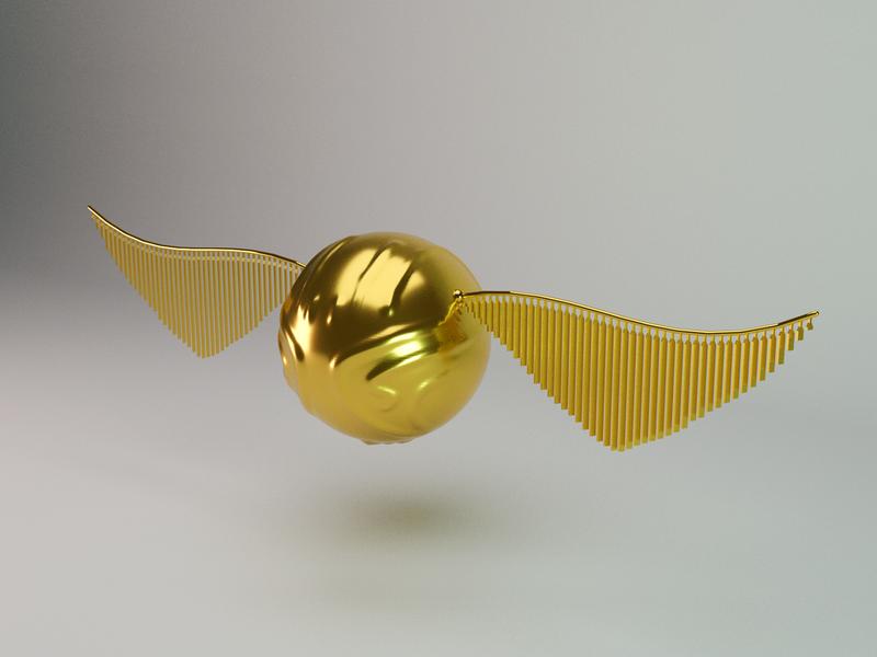 The Golden Snitch design gold snitch harrypotter 3d art 3d artist blender blender3d