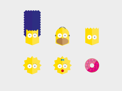 The Simpsons icons the simpsons illustration desgin flat icons