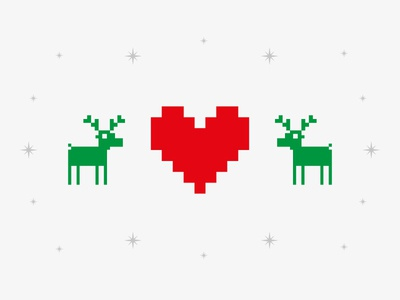 We love Christmas pixels reindeer love holiday christmas