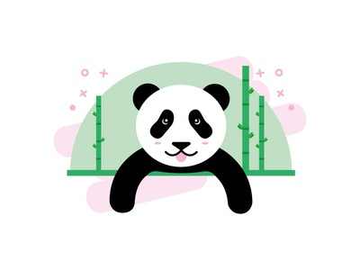 Panda stickers nature cute icon illustration panda