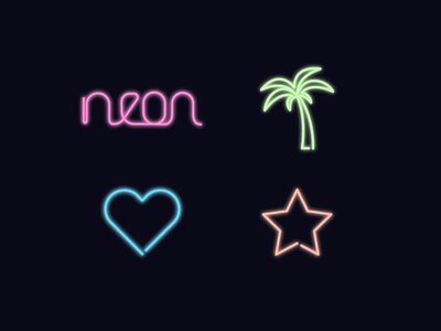 Neon lights neon icons design colors lights palm star heart