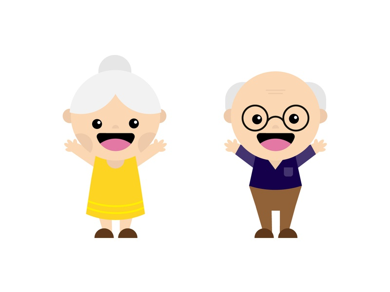 Grandparents character cute grandma grandpa illustration icons design
