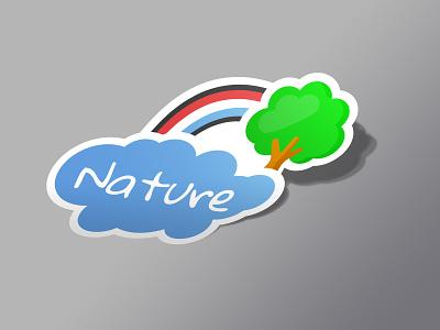 Dutch nature sticker st colors modern nature cloud rainbow three holland kids simple sticker mule