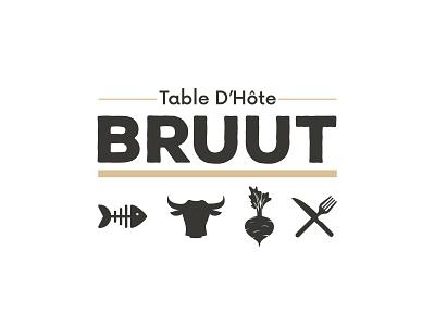 BRUUT logo black illustration brand restaurant colors typography clean modern branding logo