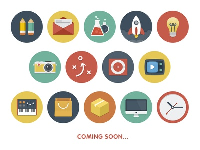 Flat icons flat icons kit bag tv synthesizer ipod clock box imac leica camera chemistry mail rocket pencil bulb lightbulb