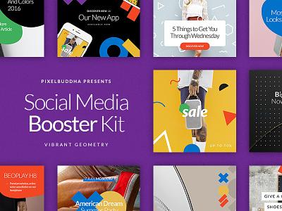 Social Media Booster Kit twitter banners colors kit blogger blog facebook typography media fashion social media instagram